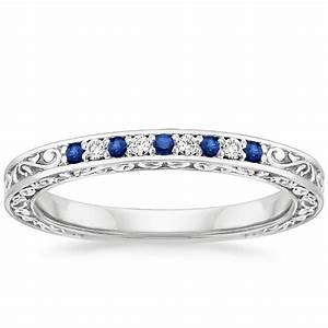 Antique scroll sapphire and diamond ring brilliant earth for Women s platinum wedding rings