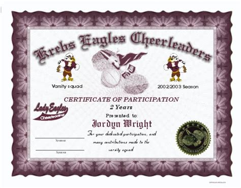 cheerleading award certificate template choice image