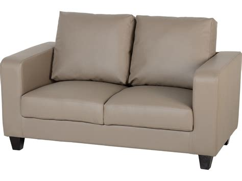 faux leather settee seconique tempo 2 seater sofa in a box taupe faux