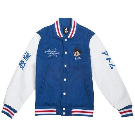 bait  astro boy men launch varsity jacket blue white