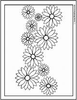 Coloring Daisy Pages Flower Garland Daisies Drawing Flowers Pdf Sunflower Printable Outline Rose Printables Colorwithfuzzy Lily Customizable Pdfs Cards Spring sketch template