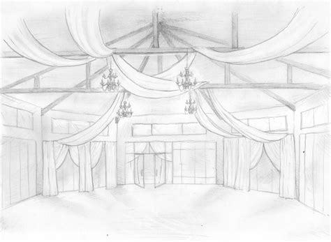 Sketch of the room Wedding drawing Ceiling decor