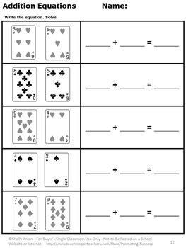 kindergarten addition  subtraction worksheets deck