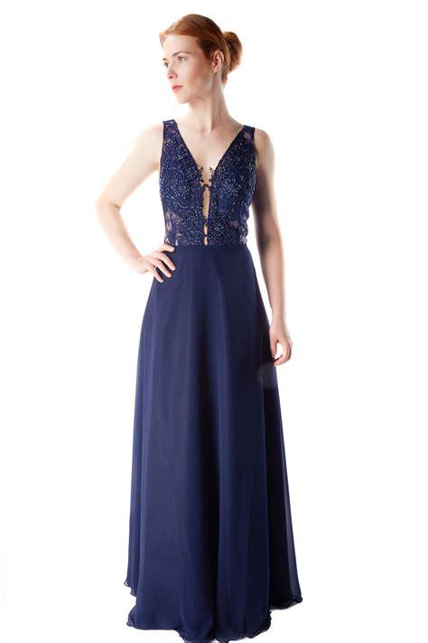 designer abendkleid dunkelblau mit spitze samyra fashion