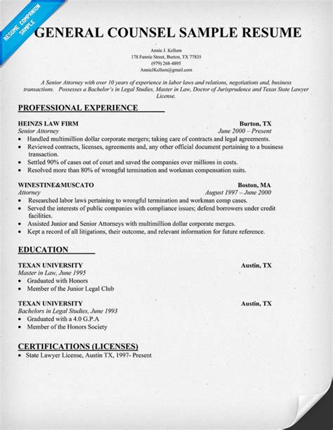 general counsel resume exle 28 images 7 general