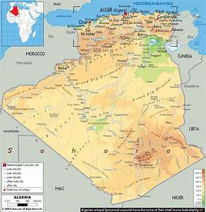 Physical Map Of Algeria  Passion For The Impossible