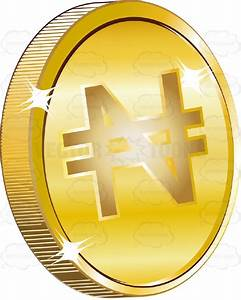 Cartoon Clipart: Nigeria Naira Sign On Gold Coin Currency