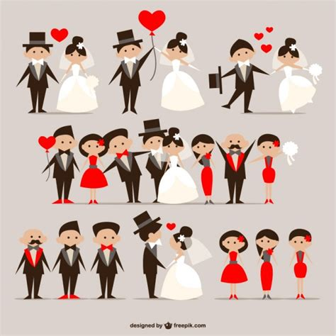wedding vector wedding couples pack vector free