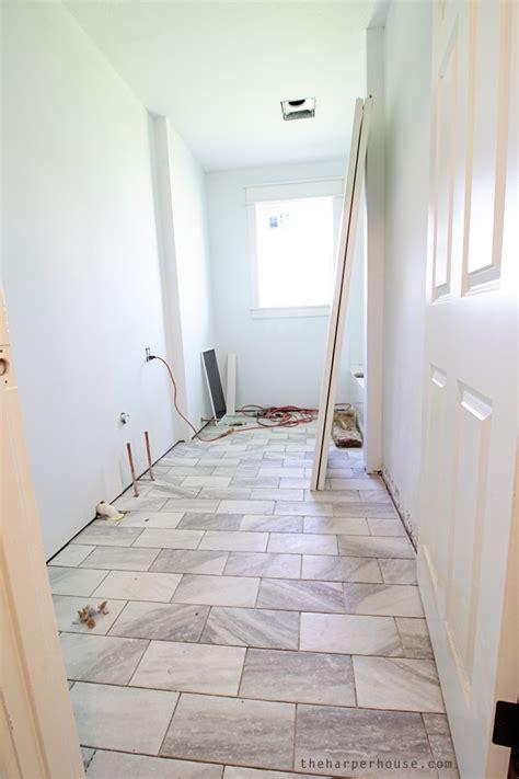 classic gray  white bathroom  harper house