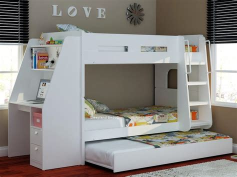 bunk bed with trundle and desk olympic white wooden bunk beds with large desk storage and