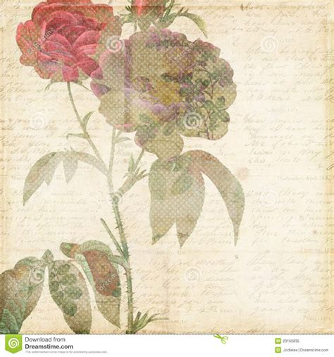 Vintage Shabby Chic Background With Flowers Stock Image