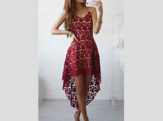 Solid Lace Hollow Out Asymmetric Casual Dress Bellelily