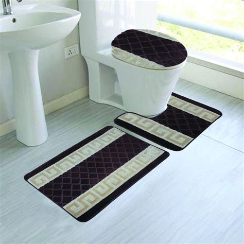 bath rug sets 3 two tone textured bathroom rug set ebay
