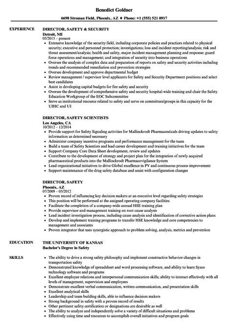 Director Of Security Resume Exles by Director Safety Resume Sles Velvet