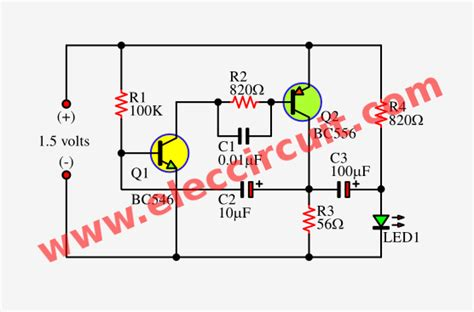 External Lamp by 1 5v Led Flasher Circuit Using Bc556 And Bc546