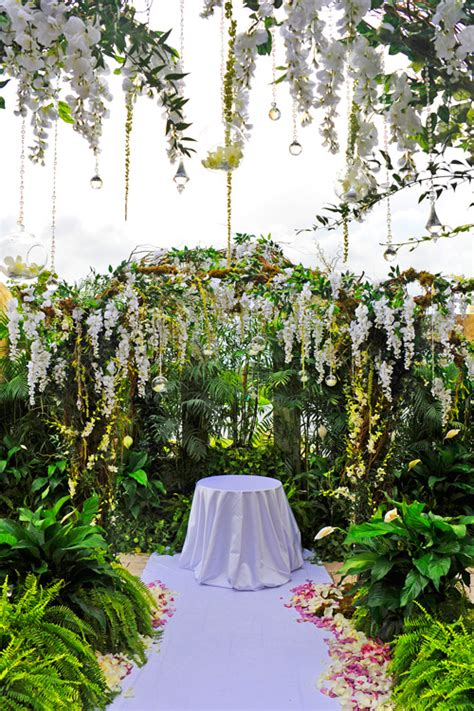 outdoor terrace wedding ceremony at the building