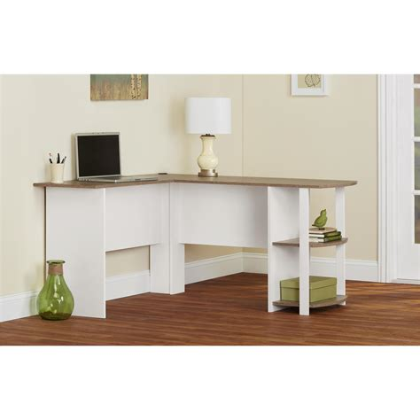 ameriwood furniture l shaped desk with 2 shelves in