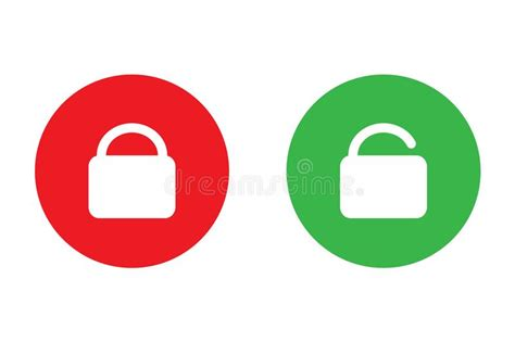 Lock And Unlock Easy Icon Green And Red Vector Design For