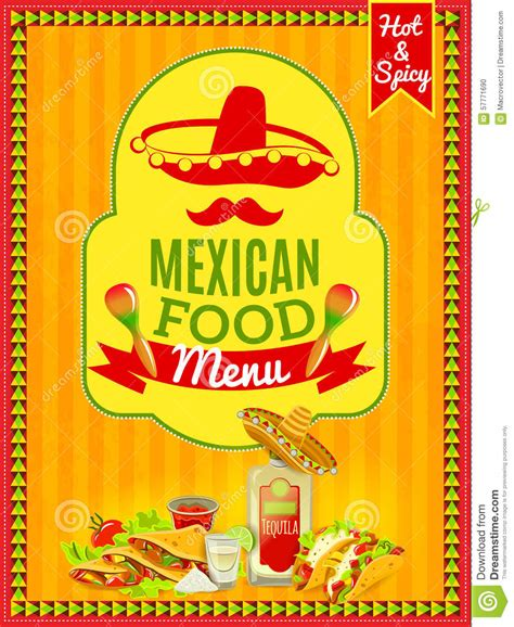 food menu poster stock vector image of color