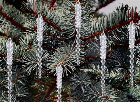 Tree Decorations Icicles - beaded icicles for your tree set of 12