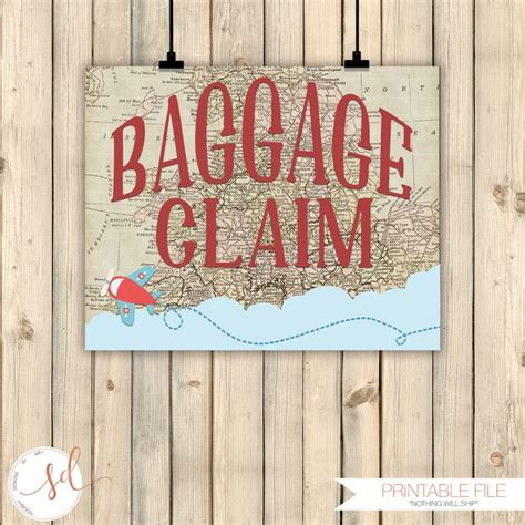 Vintage Travel Airplanes Birthday Party Sign Baggage