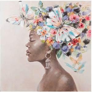 Quadro Donna Africana Con Farfalle Quadri Etnici Offerte Online