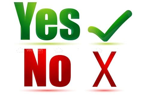Yes And No Text With Tick And Cross Symbols