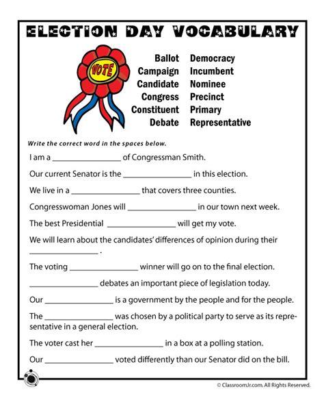 election day vocabulary worksheet woo jr kids activities
