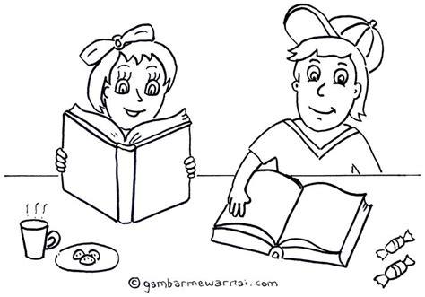 mewarnai gambar anak membaca buku kartun membaca buku