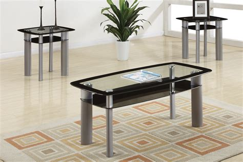 3 Piece Black Glass Modern Coffee Table Set