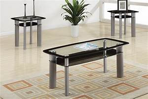 black edge glass 3 piece coffee table set affordable With 3 piece coffee table set black