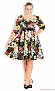 dark floral dresses for curvy women 2018 With robe femme ronde chic