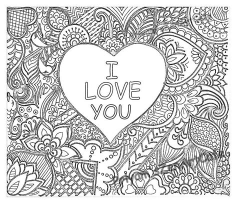 easy coloring page romantic gift  love  art love