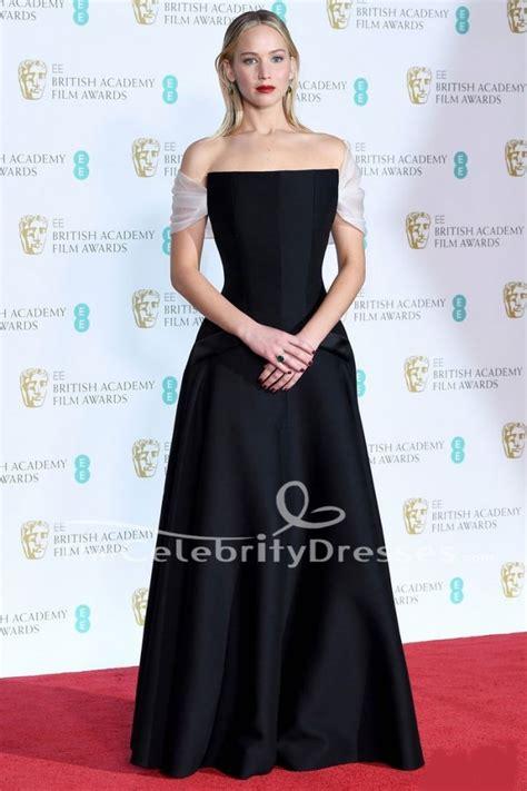 Jennifer Lawrence Black Off The Shoulder Evening Dress