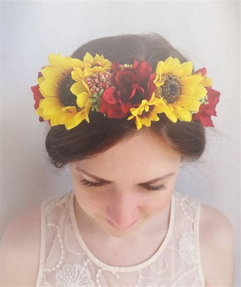 Floral Crown Sunflower Hair Accessories Sunflower Bridal
