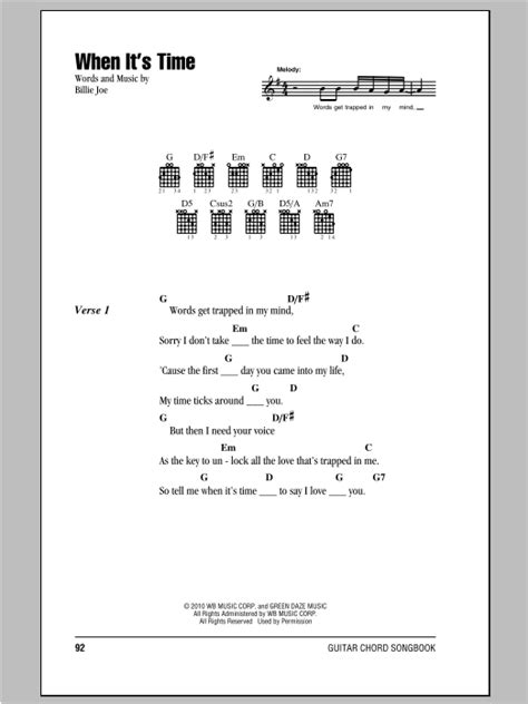 When It's Time by Green Day - Guitar Chords/Lyrics