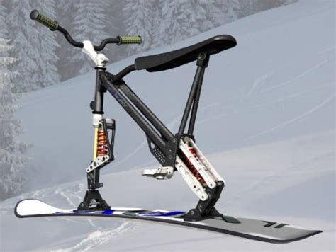 Omo ski-bike combines the features of a snowboard and a ...