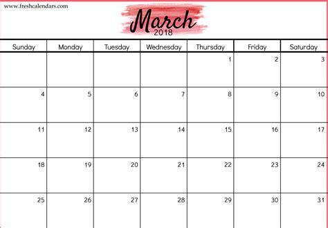 2018 Calendar Template Free 5 March 2018 Calendar Printable Template Source