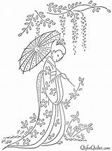 Embroidery Patterns Hand Japanese Designs Transfer Transfers Sashiko Pattern Stencils Coloring Wall Tree Quilter Ribbon Visit Geisha Silk Kimono Embroider sketch template