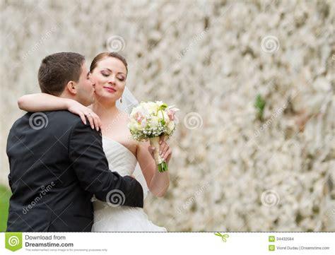 Wedding Couple Girl And Little Dog Outdoor Stock Image