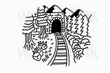 Tunnel Train Drawing Going Through Svg Hand Follow Cart sketch template