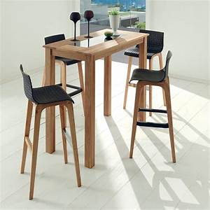 Table Cuisine Scandinave : table haute en bois huil et plaque de marbre pour univers cosy ~ Melissatoandfro.com Idées de Décoration