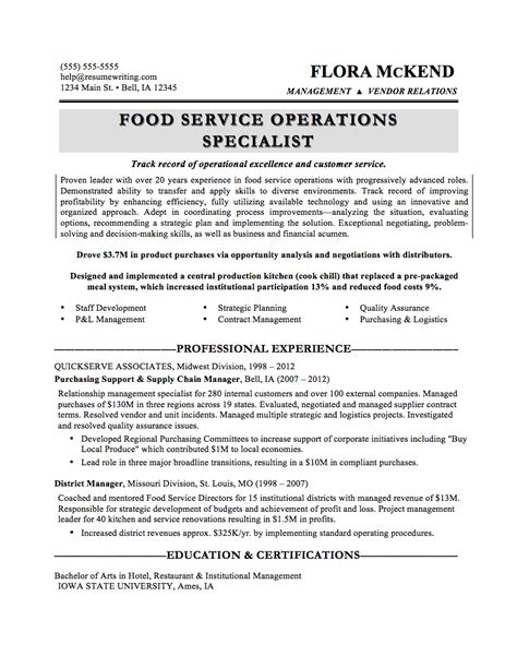 Food Service Director Resume by General Manager Resume Food Service Resume Format