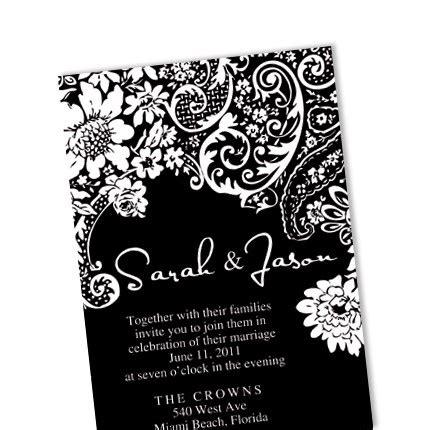 black and white damask wedding invitation diy custom