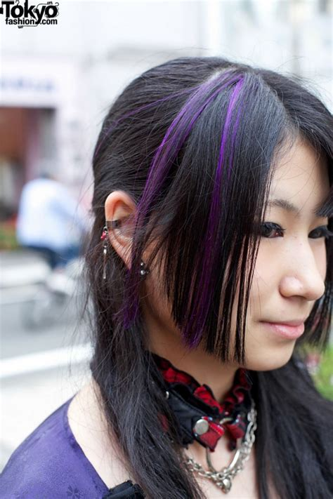 kimono inspired gothic fashion purple streaked hair