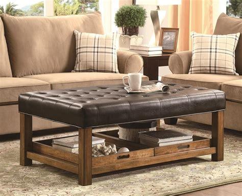 63 w owen coffee table top grain leather ebondy & cigar brown option brass base. Top 50 Brown Leather Ottoman Coffee Tables | Coffee Table Ideas