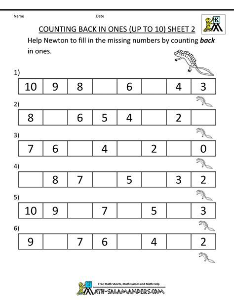 Kindergarten Counting Worksheet  Sequencing To 15