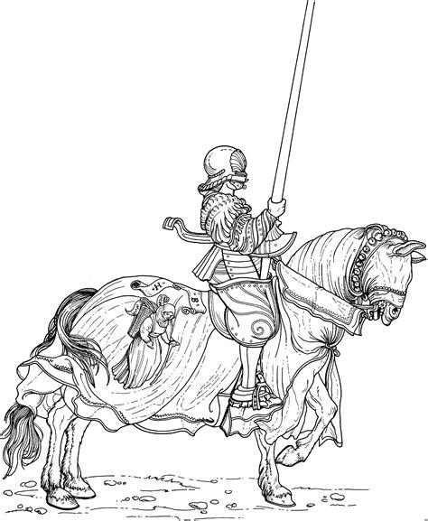 ritter auf pferd mit lanze ausmalbild malvorlage