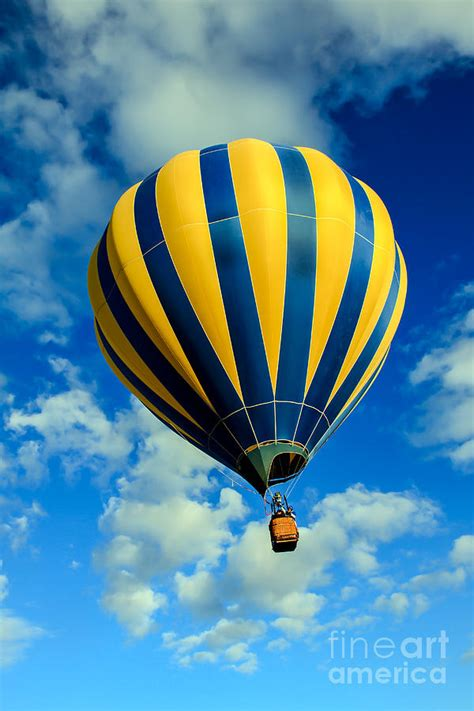 striped duvet yellow and blue striped air balloon photograph by
