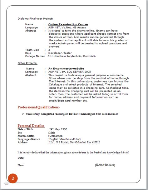 Professional Cv Format by Professional Curriculum Vitae Format
